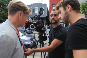 Director J.D. Oxblood, DP Claudio Rietti, and 1st AC Matt Cutola setting up on the streets of Williamsburg.