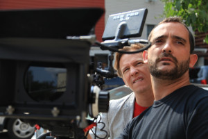 DP Claudio Rietti plays back the most recent take for Director J.D. Oxblood.