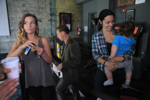 Sarah Moliski (Marta) in the Nitehawk Cinema, off-camera with talented extra Hudson & his mom.